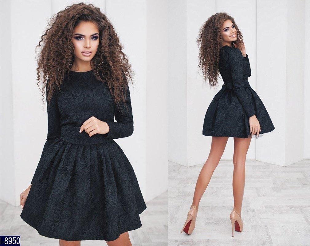 32021f554cf Красивое черное платье с пышной юбкой в стиле бэби долл. Арт-12951 -  Интернет
