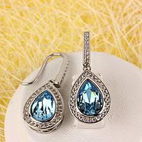 012-0054 - Серьги с кристаллом Swarovski Drop Crystal Aquamarine и прозрачными фианитами родий