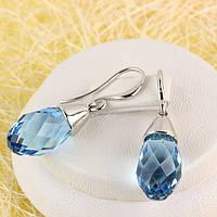 012-0057 - Серьги с кристаллами Swarovski Drop Crystal Aquamarine родий