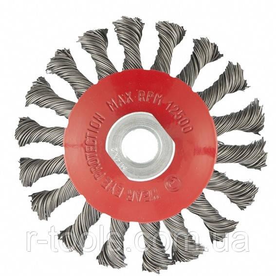 Щетка для УШМ 125 мм М14 тарелка крученая проволока 0,5 мм MTX 746119