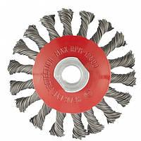 Щетка для УШМ 125 мм М14 тарелка крученая проволока 0,5 мм MTX 746119, фото 1