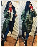 Женское длинное демисезонное тёплое пальто пуховик с капюшоном хаки 46 48 50 52 54 56