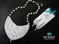 Вишуканий білий набір прикрас кольє сережки мереживо від дизайнера IZ
