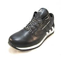Кросовки мужские Adidas с мехом кожаные черные (р.41,42,43,44)