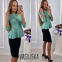 Костюм блузка с баской гипюр на ангоре и юбка карандаш трикотаж 2 цвета KV597