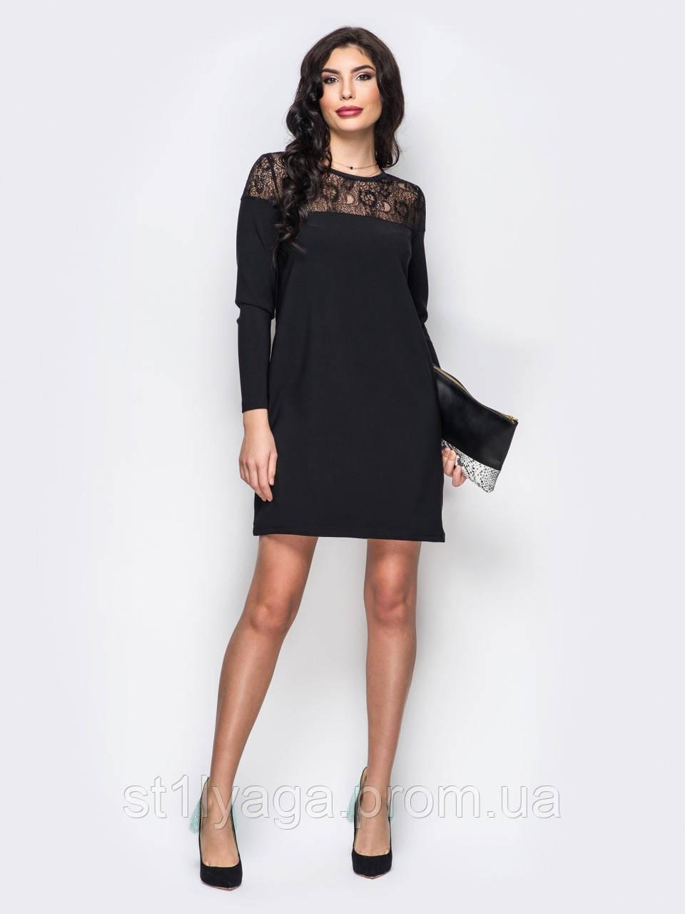 Вечернее  платье мини с кружевом и длинными рукавами черный размер 48