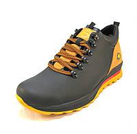 Ботинки  мужские с мехом Extrem кожаные черно-желтые (р.41,43,44,45)