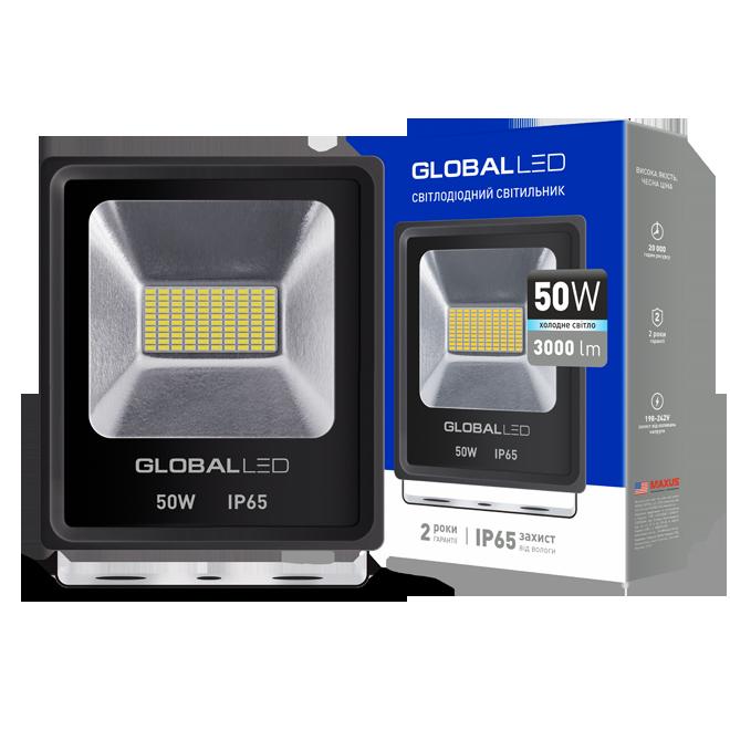 Прожектор LED GLOBAL FLOOD LIGHT 50W 5000K ХОЛОДНЕ СВІТЛО(1-LFL-004)