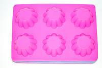 Силиконовая форма для выпечки и желе Кекс (6 шт. на листе), 25*18*3,5 см