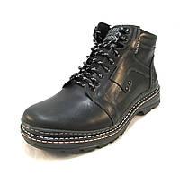 Ботинки  мужские  с мехом TRISTAN кожаные черные (р.41,43,44,45)