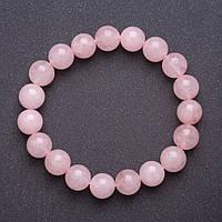 Браслет из натурального камня Розовый кварц на резинке гладкий шарик d-10мм обхват 18см