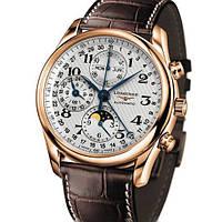 Мужские часы Longines Master Collection кварцевые коричневый ремешок, белый циферблат, корпус металл