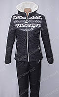 Очень теплый женский зимний спортивный костюм nike на синтепоне черный