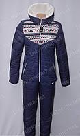 Очень теплый женский зимний спортивный костюм nike на синтепоне синий
