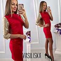 Платье модное с рукавами из пайетки мини трикотаж разные цвета SMV1892