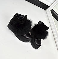 Зимние ботиночки, Натуральный замш+кожа, натуральный мех