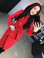 """Кашемировое красивое пальто до колен """"Вейв"""" с капюшоном"""