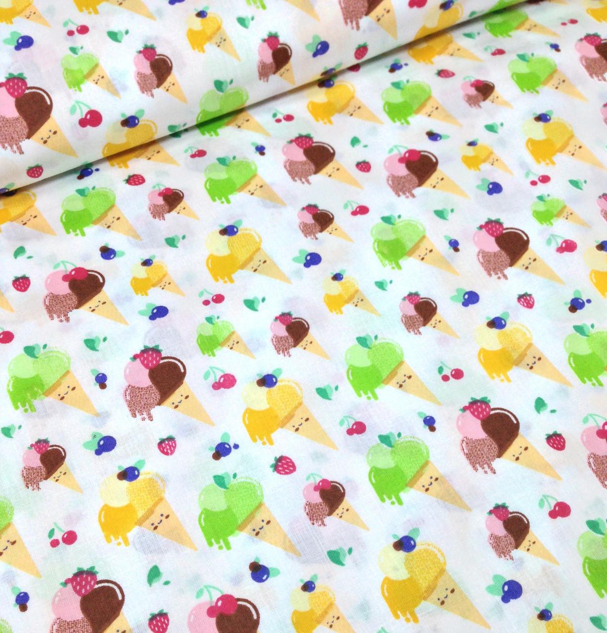 Хлопковая ткань польская мороженое в рожках желто-коричнево-салатовое на белом №354