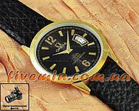 Наручные часы Omega Quartz Date Gold Black кварцевые с календарем унисекс женские и мужские омега