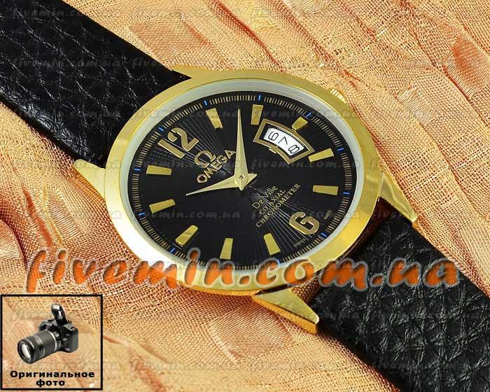Наручные часы Omega Quartz Date Gold Black кварцевые с календарем унисекс женские и мужские омега - Ваш интернет магазин № 1 в Киеве