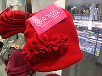 Красивая женская шляпка теплая DIDI красная
