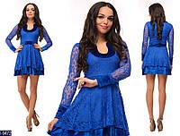 Короткое синее гипюровое платье с подкладкой из бархата. Арт-12964
