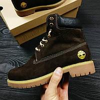 Зимние ботинки Timberland 6 inch brown с мехом (тимберленд)