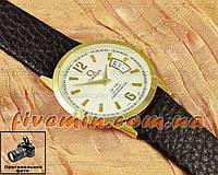 Наручные часы Omega Quartz Date Gold White кварцевые с календарем унисекс женские и мужские омега