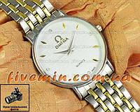 Наручные часы Omega Quartz Steel Gold White кварцевые стальные унисекс женские и мужские омега
