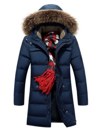 b31684a54855 Теплый зимний мужской пуховик синий удлиненный до колена - Интернет-магазин  одежды Fashion-Ua