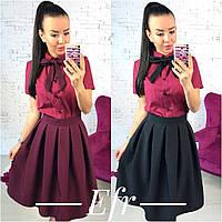Женский костюм рубашка с коротким рукавом+юбка со складками, фото 1