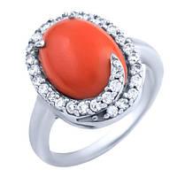 Серебряное кольцо с натуральным кораллом
