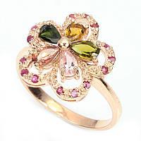 Кольцо серебряное 925 с натуральными камнями р17.75
