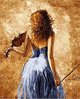 """Картины раскраски по номерам """"Девушка со скрипкой"""" набор для творчества"""