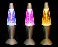 """Светильник ночник Лава """"Тайфун"""" подсветка меняется в разных цветах, серебро 32 см"""