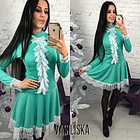 Платье стильное яркое Sexy с кружевом и пышной юбкой мини трикотаж джерси 5 цветов SMV1893