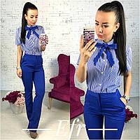 Женский брючный костюм рубашка с коротким рукавом+классические брюки, фото 1