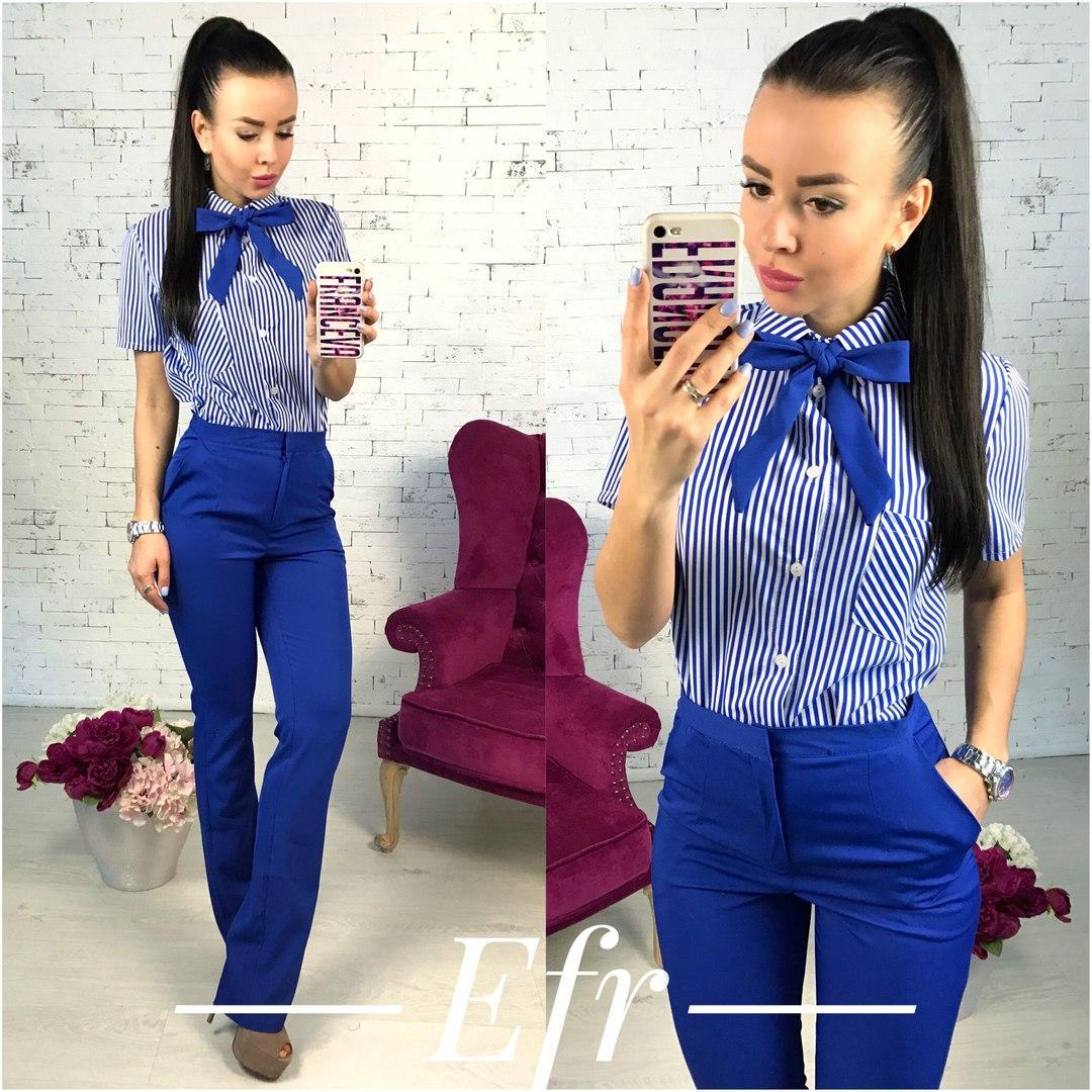 73dd7d2e6bb Женский брючный костюм рубашка с коротким рукавом+классические брюки -  Интернет-магазин