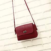 Маленькая женская сумка через плече бордовая