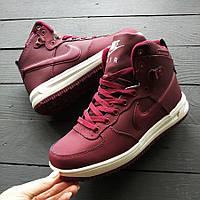 Женские кроссовки Nike Watershiold на меху бордовые