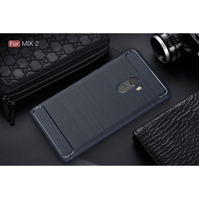 чехол накладка Xiaomi Mi mix 2 силиконовый темно-синий