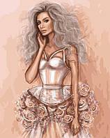 """Картины раскраски по номерам """"Платье из роз"""" набор для творчества"""