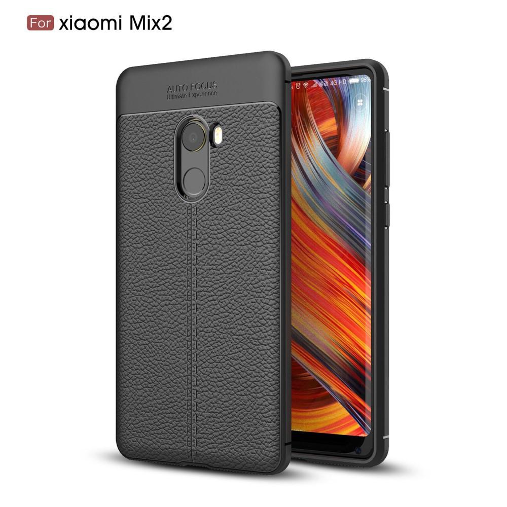 Чехол накладка для Xiaomi Mi Mix 2 силиконовый, Фактура кожи, черный