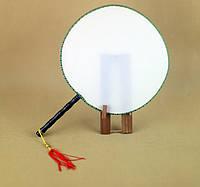 Китайский веер для росписи или декупажа. Диаметр 23см, шелк. Ручка 13см- дерево.