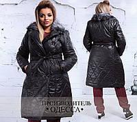 Женское Батал Пальто деми  с меховым воротником