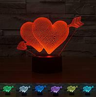 """3D светильник """"Два сердца со стрелой"""
