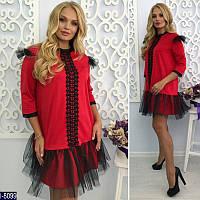 Красное трикотажное платье со вставками из фатина. Арт-12979