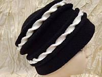Черная женская шапка из мягкого фетра