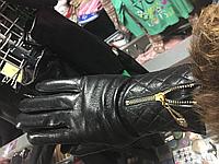 Женские тёплые перчатки из натуральной кожи Шанель