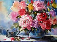 """Раскраски на холсте """"Розы на столе"""" 40х50см, Без Коробки"""